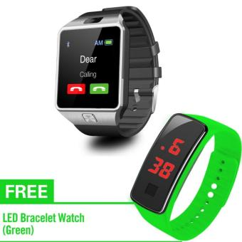 KingDo DZ09 Touchscreen GSM SmartWatch with Free L7 LED Watch(Green)