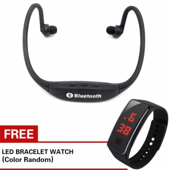 Kingdo E4 Sports Bluetooth Earphone Music Player MP3 Support TF Card(Black) with Free LED Watch