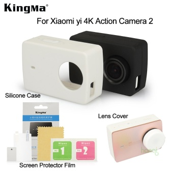 Kingma Xiaomi Yi 4k Screen Protector Film+ Xiaomi Yi 4K II SiliconeCase+Lens Cover For Xiaomi yi 4K Action Camera 2 Accessories - intl