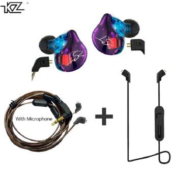 KZ ZST Hybrid Earphone +Bluetooth Wire+Dynamic Drive HI-FI Bass earphones for Sport music smart phones Black Color- intl - 2