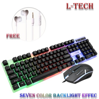 L-TECH W33 7Color Backlight LED Lights Mechanical Gaming Keyboard and Mouse Combo (Black)