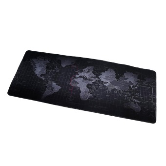LALANG 800*300*2MM Portable Rubber Extended Gaming Large Keyboard Mouse Pad World Map Pattern S(Black) - intl - 2