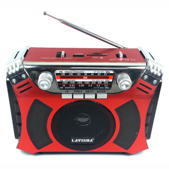Lavisha LJ-1335U Portable Rechargeable AM/FM/SW 3 Band Radio withUSB/SD MP3 Playback and Torchlight (Red)