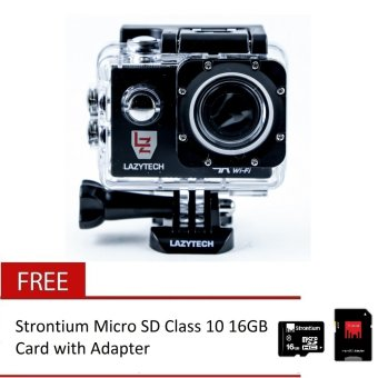 Lazytech 4K 30FPS 1080p 30/60FPS WiFi Action Pro 16MP Sports Camera(Black) with Free Strontium Micro SD Class 10 16GB Card withAdapter (Black)