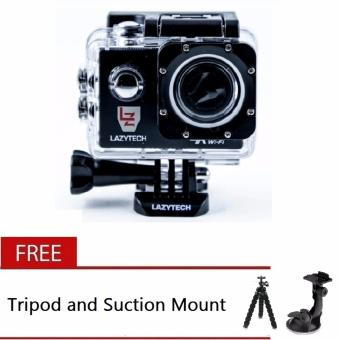 Lazytech 4K 30FPS 1080p 30/60FPS WiFi Action Pro 16MP Sports Camera(Black) with Free Tripod and Suction Mount