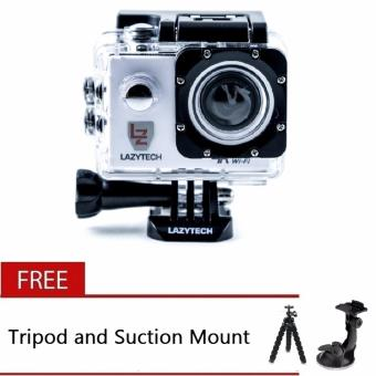 Lazytech 4K 30FPS 1080p 30/60FPS WiFi Action Pro 16MP Sports Camera(White) with Free Tripod and Suction Mount