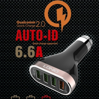 LDNIO C701Q 6.6A 4 Ports USB Fast Charging Car Charger With Micro USB Cable for Android & IOS - intl