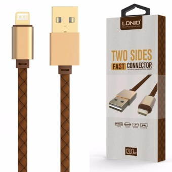 LDNIO LS25 1.2M Fast Charge Leather Coated Lighting USB Cable for iPhone 7/6s (Gold/Brown) Price Philippines
