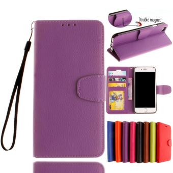 Leather Case Flip Stand Card Slots Cover For iPhone 7 Plus (Purple) - intl
