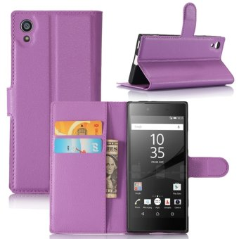 Leather Flip Cover Protective Case For Sony Xperia XA1 (Purple) -intl