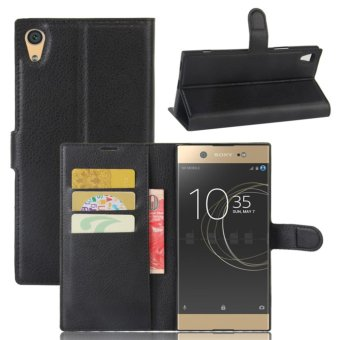 Leather Flip Cover Protective Case For Sony Xperia XA1 Ultra (Black) - intl
