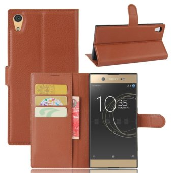 Leather Flip Cover Protective Case For Sony Xperia XA1 Ultra (Brown) - intl
