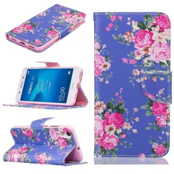 Leather Stand Wallet Case Flip Cover For Huawei Y6 II / Honor 5A(Floral) - intl