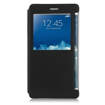 Leather View Window Case for Samsung Galaxy Note 4 / Note Edge N915(Black)