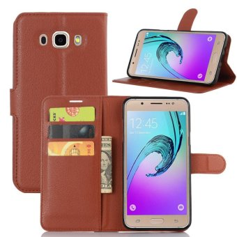 Leather Wallet Flip Cover Case For Samsung Galaxy J7 2016 (Brown) - intl