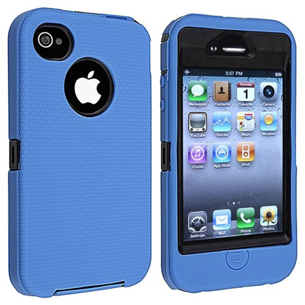 ... Leegoal Blue/Black Body Armor Defender Three Layer Silicone PC CaseCover for iPhone 4 4S ...
