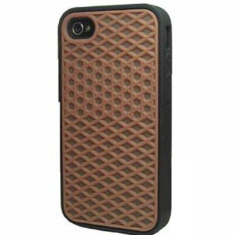 Detail Images Leegoal Brown with Black Side Silicone Rubber Sole Shoes WaffleCase Cover for IPhone4/