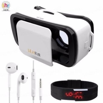 LEJI VR Mini 3D Virtual Reality Glasses for Smartphones (White) with LED Watch and In-Ear Headphones (Color may Vary) Price Philippines