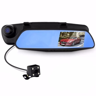 LHR C102 4.3 inch HD Car Rear View Mirror Dash Camera Recorder (Black)