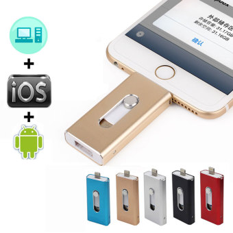 Lightning OTG Flash Drive For iOS and USB For Computer PC ForiPhone U Disk(64GB) Gold Price Philippines