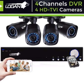 Logan L-DXP441M-ND Night Vision CCTV 720P Weatherproof 4Pcs Plastic Bullet Camera & 1080N 4CH DVR with 1TB HDD Included