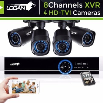 Logan L-DXP841M-ND Night Vision CCTV 720P Weatherproof 4Pcs Plastic Bullet Camera & 1080N 8CH HD DVR with 1TB HDD Included