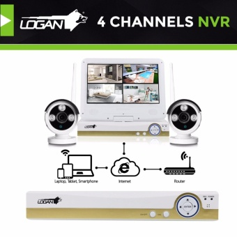 Logan LW4AA4I1X Night Vision CCTV 720P Weatherproof 4Pcs Metal Bullet Camera & 1080P 4CH HD NVR with 1TB HDD Included - 4