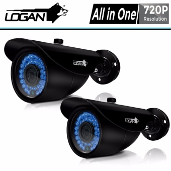 Logan LX1AW HD-TVI Analog Night Vision CCTV 720p Weatherproof 2Pcs Metal Bullet Cameras (Black)