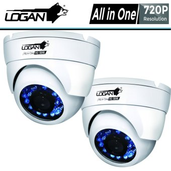 Logan LX1W HD-TVI Analog Night Vision CCTV 720p Indoor 2Pcs Metal Dome Cameras (White)