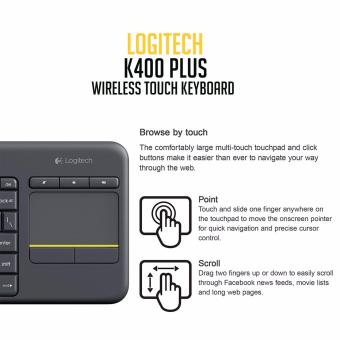 Logitech K400 Plus Wireless Touch Keyboard (Black) - 2