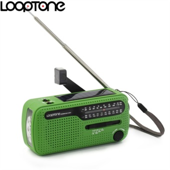 LoopTone FM/AM/SW Receiver Portable Stereo Radio For OutdoorEmergency Cranking Dynamo/Solar Power LED Flashlight Phone ChargerEarphone Jack - intl