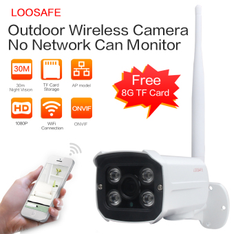 LOOSAFE 1080P Wireless WIFI Security CCTV Indoor/Outdoor Waterproof IP Bullet Camera With 8G TF Card