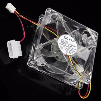 Low Power Blue LED Transparent Computer 80mm Case Fan DC BrushlessSleeve Bearing