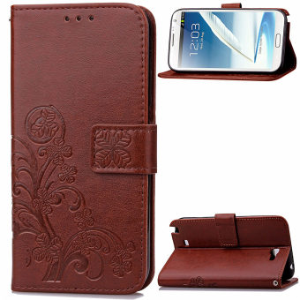 Lucky Clover PU Leather Flip Magnet Wallet Stand Card Slots CaseCover for Samsung Galaxy Note II 2 N7100 Brown