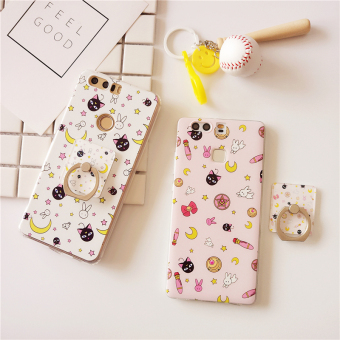 Luna V8/P9/g9/5c cat ring support painted phone case