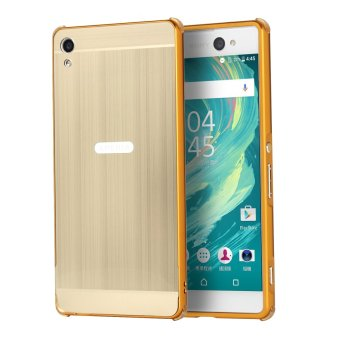 Luxury Metal Aluminum Bumper Case Cover for Sony Xperia XA UltraDetachable + Brushed PC Hard Back 2 in 1 Ultra Thin Frame Gold