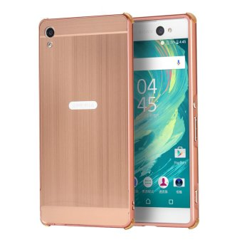 Luxury Metal Aluminum Bumper Case Cover for Sony Xperia XA UltraDetachable + Brushed PC Hard Back 2 in 1 Ultra Thin Frame Rose Gold
