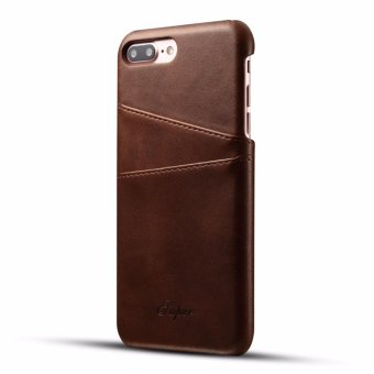 Luxury PU Leather Slim Back Case Cover Card Pocket For Apple iPhone 7 Plus (Brown) - intl