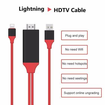 LYBALL 1080P Lightning For 8Pin to HDMI Converter Adapter MHL To HDMI Cable HDTV Adapter USB Cable For iPhone 5 5S 6 6S 7 Plus 2m - intl