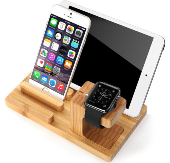 LYBALL 3-in-1 100% Wooden Desk Stand Holder Charge Dock StationLaptop Stands For Apple Watch iPhone 5 6 6S iPod iPad