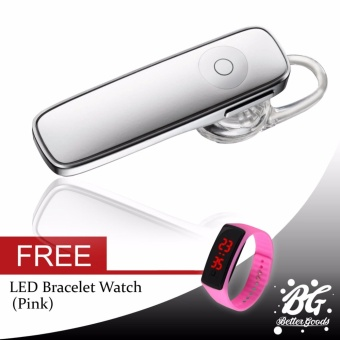 M165 Bluetooth Mono Headset (White) FREE (LED Watch Pink)