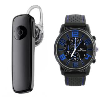M165 Bluetooth V4.0 Stereo Smartphone Headset for iphone Android(Black) With GT 57 Grand Touring F1 Racing Men Watch Sports CoolMilitary Army Watch New Design (Red/Blue)