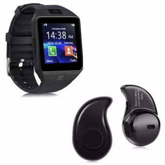 M9 Phone Quad Smart Watch (Black) With Mini Bluetooth Earphone V4.1(Black)
