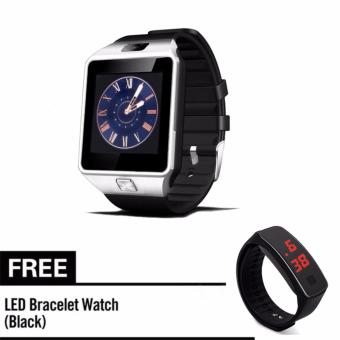 M9 Phone Quad Smart Watch (Silver) With Free Led Bracelet Watch(Black)
