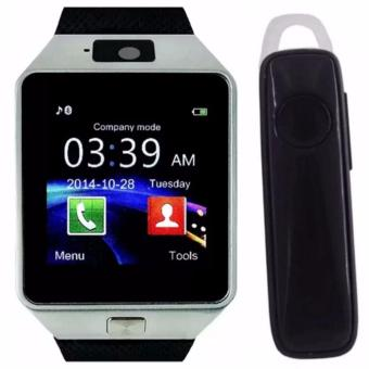 M99 Quad Phone Bluetooth Touch Screen Smart Watch (Black/Silver)with M165 Bluetooth V4.1 Stereo Smartphone High-Quality Headset(Black)