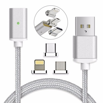 Magnetic clip-on USB Fast Charging and High Speed data transferis Braided Cable 3-in-1 Magnetic LightingMicro USBType-C Mini Metal connector(1 Magnetic Charging data Cable, 1 Lighting connector, 1 Micro USB connector and 1 Type-C connector) - intl
