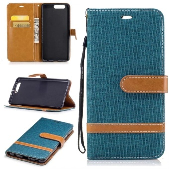 Magnetic Flip Canvas PU Leather Luxury Wallet Case for Huawei P10Plus Phone Cover Coque (Navy Blue) - intl