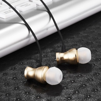 Magnetism Wired Earbuds Bass Stereo In-ear Headphone Earphone Sports Sweatproof Headset with Microphone for iPhone 6 5 Samsung Galaxy Tab Golden - intl - 4