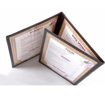 (MB008) Tri-fold Menu Jacket,Menu Holder 3 Pages with 6 views withcorner metal clip - 4