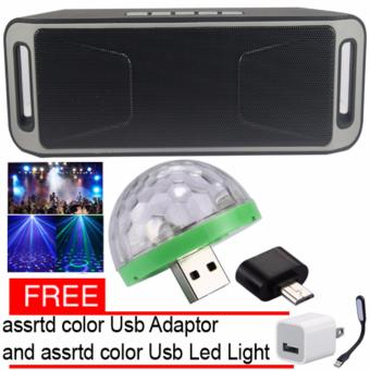 Megabass SC208 A2DP Bluetooth Wireless Stereo Speaker (grey) andLed Disco Party Light with free assrtd color Adaptor and Led Light